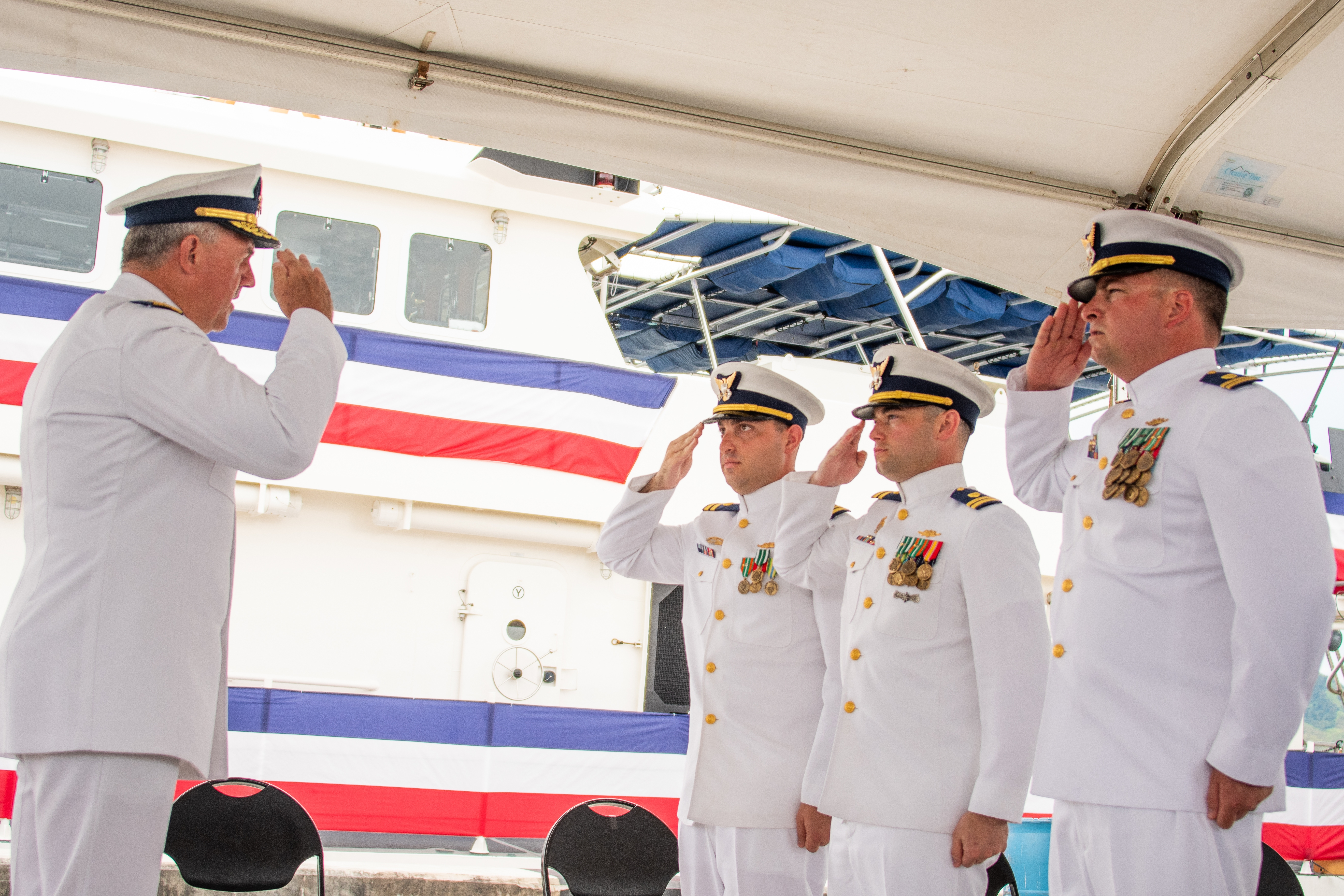 Admiral Karl Schultz and Commanding Officers of New Cutters in Guam.